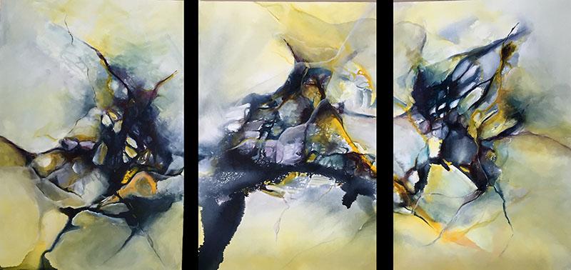 "A Common Thread - Triptych, acrylic on canvas, 30"" x 72"" (SOLD)"