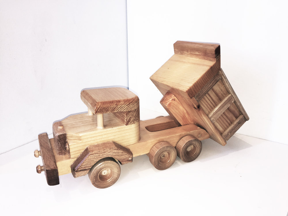 "Dump Truck, Wood Carving, 7"" x 16"""