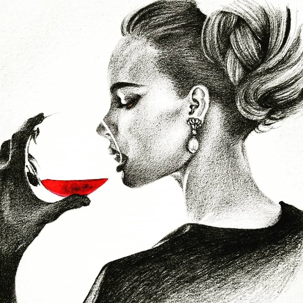 Red Wine, Pencil on Paper