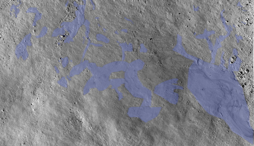 The melt/flows are shown in blue. A large portion of this image could be melt, including venier. Only the most blatant flows/melt have been marked.
