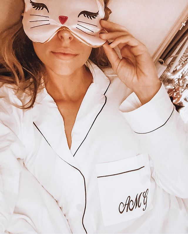 "Sleep is my number 1 tactic to good skin, good health, and a balanced life. Getting 7-8 hours a night is a must. . My cheatsheet to good sleep includes: 😴 no caffeine after 2pm (this includes green tea) 💤 black out curtains 🌀blue-blocking glasses at least 1 hour before bed (available on my amazon list for less than $10) ⚠️turn off all artificial lights at least 1 hour before bed (I don't have any artificial light besides my salt lamps and living room lamps which I replaced with dim colored bulbs from Home Depot (I don't want to F with my circadian rhythm) 🌙Activate ""night shift"" mode on your screens and devices in the evenings 💦I spray magnesium on the bottom of my feet at night (also avail on my amazon list) 😴I sleep in pajamas every night- NOT gym or lounge clothes 🌿I diffuse lavender in my oil diffuser 💧I turn on the humidifier ❄️I keep the temperatures cooler at night somewhere around 64 degrees ✈️When traveling, my go to is melatonin supplements . I hope this is helpful! Goodnight! 💤😴😘"