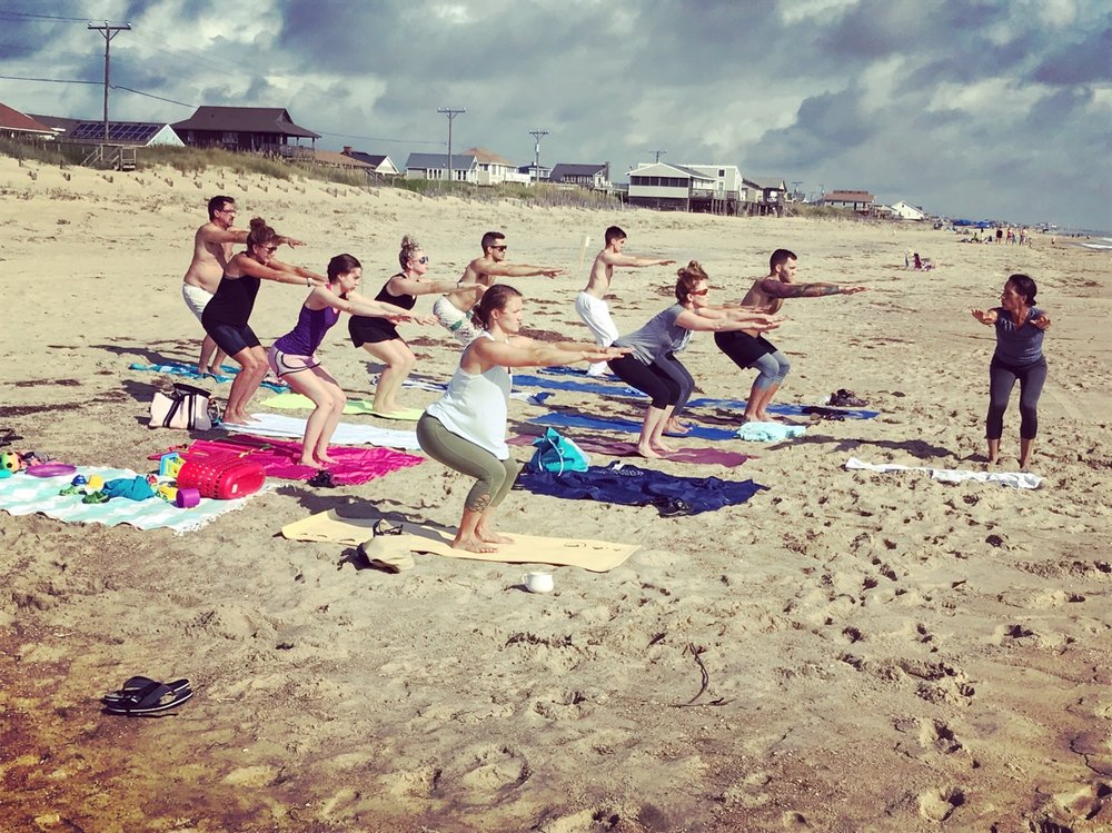 Teaching a beach yoga class last summer. Use it or lose it is so true. If you've lost any range of motion, get it back with a lot more movement in your day.