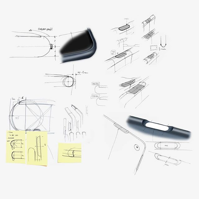 Some sketches to refine Pixel Slate finger print button and curvature of the profile. . . . #Google #Pixel #pixelslate #pixelkeyboard #googlehardware #madebygoogle  #android #chrome #minimaldesign  #industrialdesign  #productdesign #designprocess  #process #tablet #sketches #photoshop  #skillshare