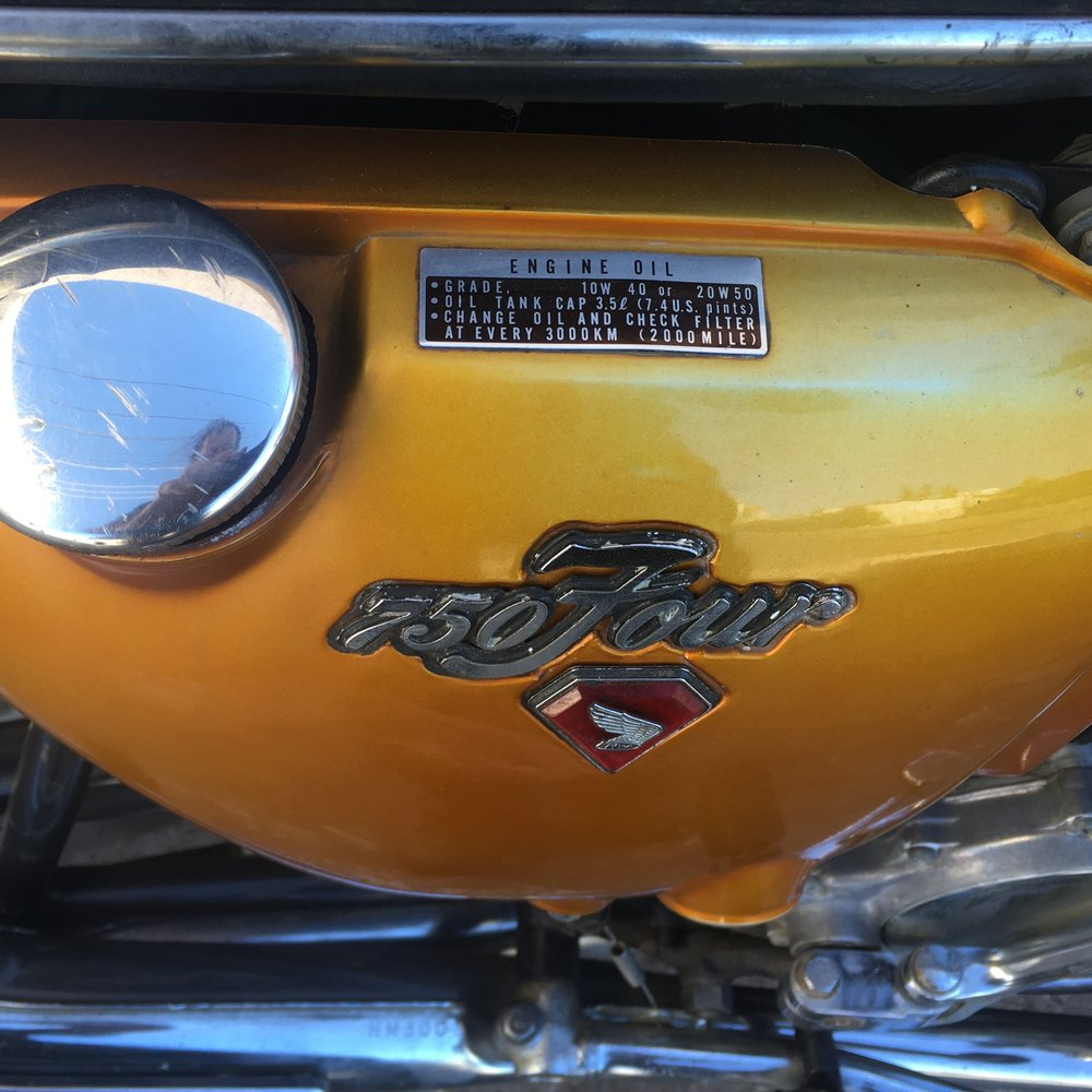 (Close up, Oil Tank) 1971 mostly Stock (Gold) Honda CB750.jpg