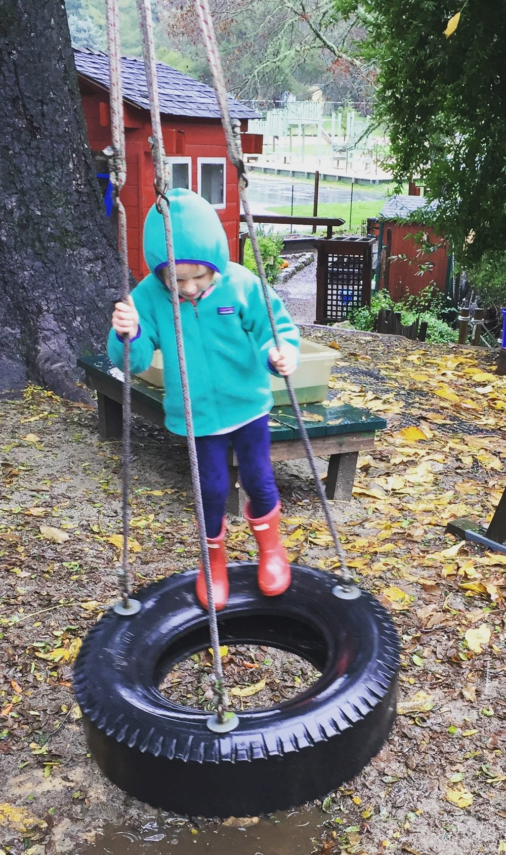 A tire swing may be something your child craves or avoids- forcing a child onto a swing can be VERY disregulating and send them into a state of flight- other children cannot get enough- always checking in with your child with any swing is critical
