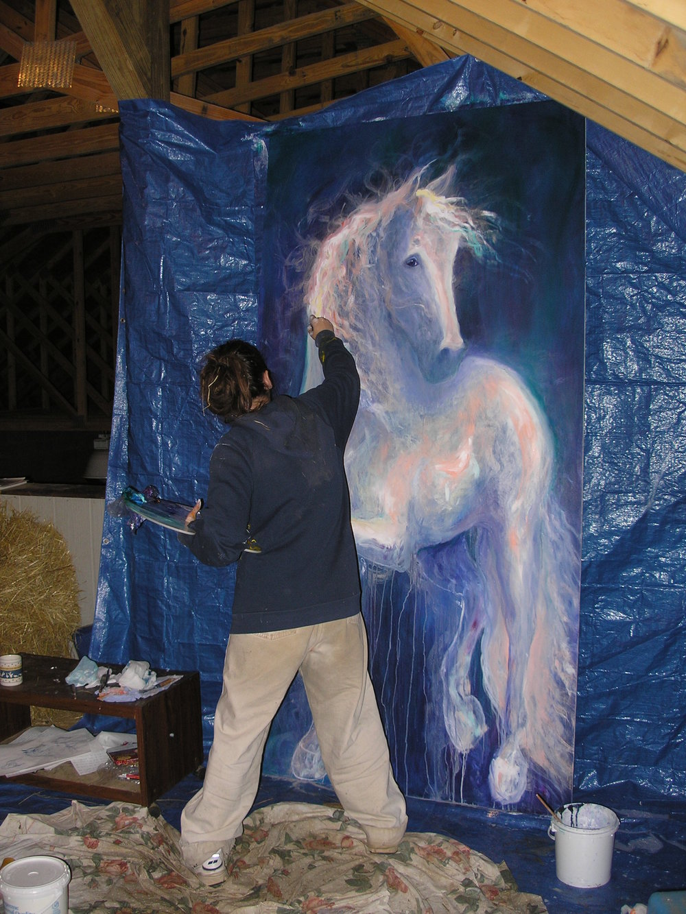 """Portrait of me painting """"Spirit is Here"""" (2005)"""