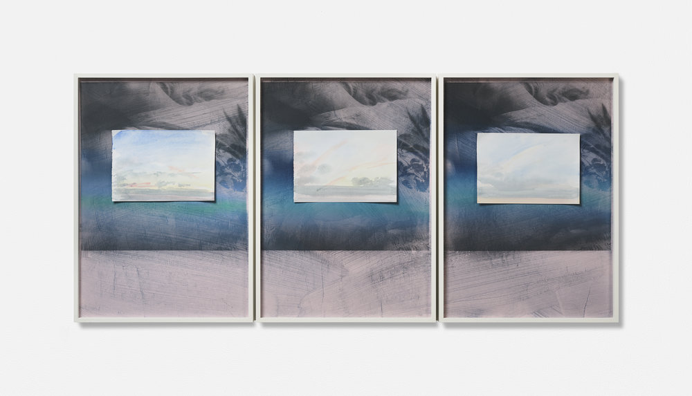 …MONT VENT TOUS / 04. / | 2002 -2019 | Gouache Siebdruck auf Papier, Aquarellblatt, Künstlerrahmung | 133.5 x 43 x 3.5 cm | ©GALERIE ALBER