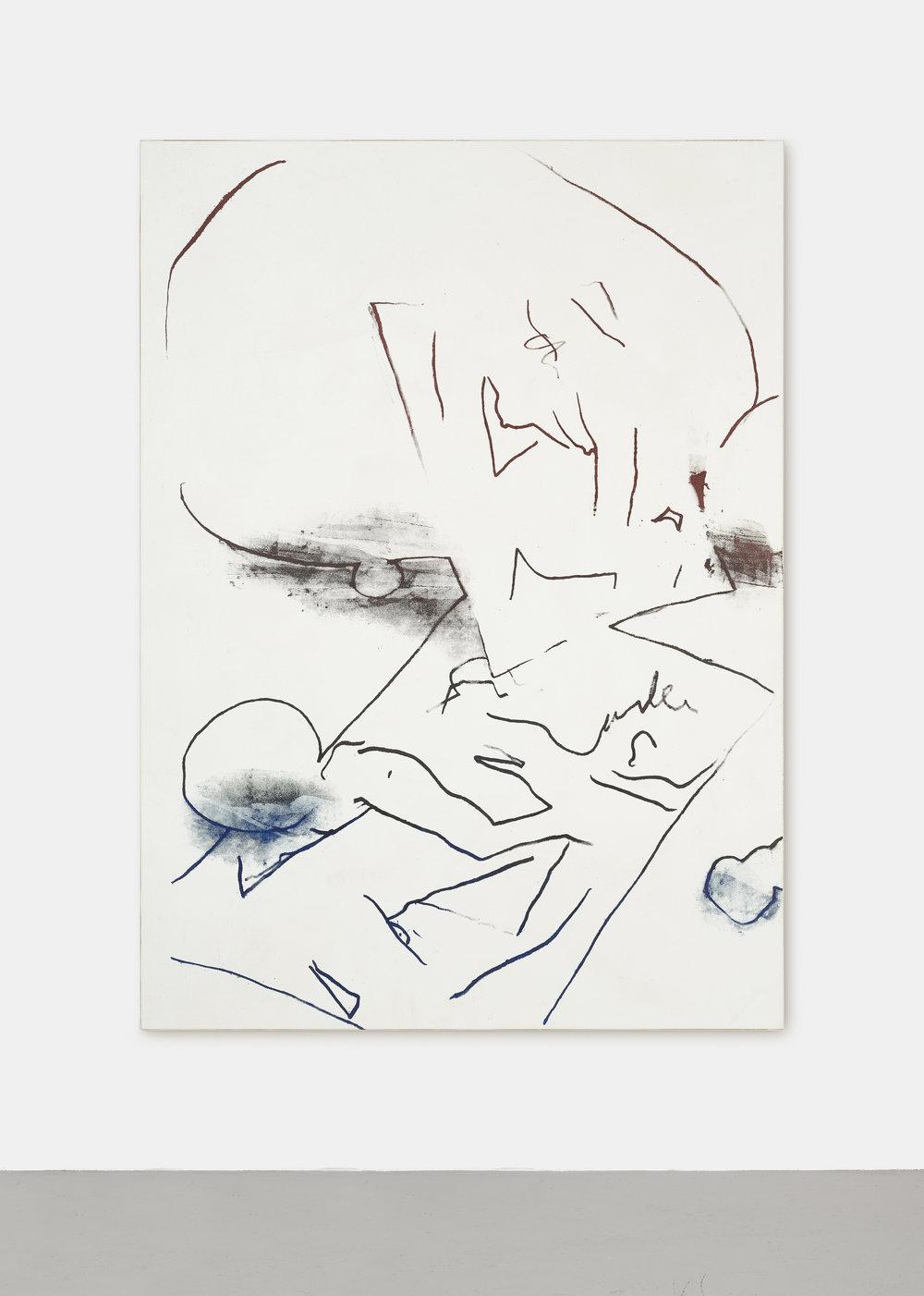 SCHWERKRAFT ALS PROBLEM DER MALEREI | 2017 - 2019 | Gouache Siebdruck, Acryl, Dammafirniss auf Leinwand | 180 x 130 cm | ©GALERIE ALBER
