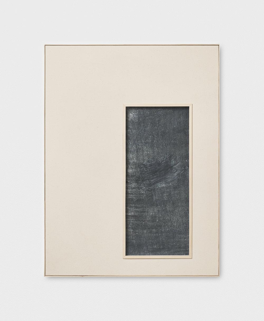 L. S. S. L. D. L' A., XIX | 2016 | Leinen, Kreidetafellack hinter Glas, Künstlerrahmung | 81 x 61 x 3.5 cm | ©GALERIE ALBER