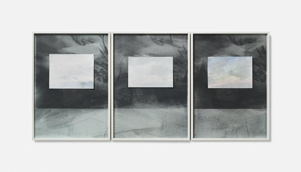 …MONT VENT TOUS / 09. / | 2002 - 2019 | Gouache Siebdruck auf Papier, Aquarellblatt, Künstlerrahmung | 133.5 x 43 x 3.5 cm | ©GALERIE ALBER