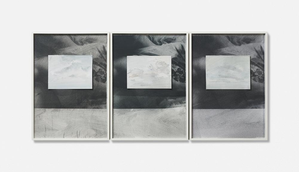 …MONT VENT TOUS / 06. / | 2002 - 2019 | Gouache Siebdruck auf Papier, Aquarellblatt, Künstlerrahmung | 133.5 x 43 x 3.5 cm | ©GALERIE ALBER