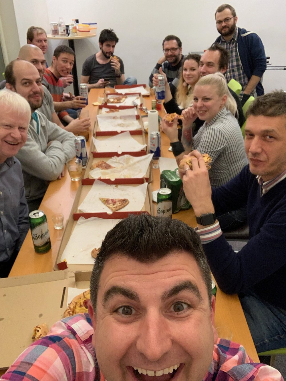 Pizza night with the dev team, Budapest 2018