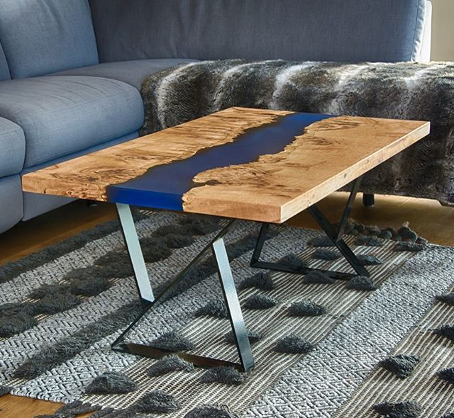One of our most popular pieces at Opus Designs - the river table. The contrast of the oak against the electric blue resin definitely makes a statement. • #oak #resin #resinart #rivertable #bespoke #design #interiors #granddesigns #handmade #coffeetable #styleinspo #styleoftheday