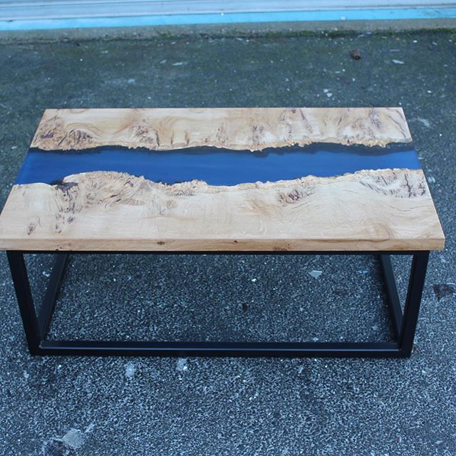 Metallic blue river coffee table, Burr oak with a black steel frame  #coffeetable #resintable #granddesigns #handmade #rivertable #madeinuk #resin #resinart #bespoke #contemporaryhomes #handcrafted #metallicblue