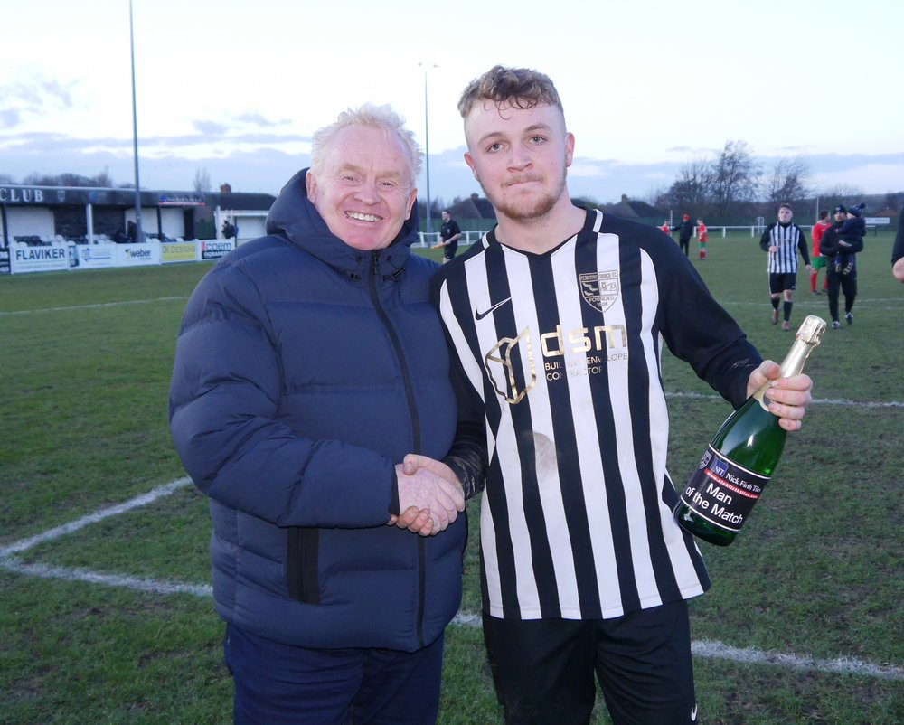 """Sam Scrivens - PCFC Man of the Match against Harrogate Railway chosen by our VIP sponsors for the day """"the Jolly Boys"""""""