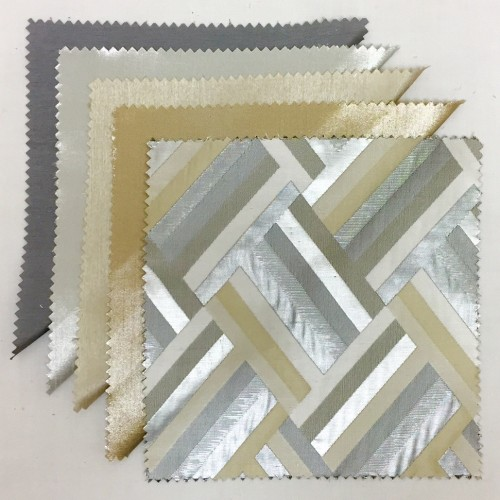 Platinum Nu Silk | Silver Metallic Nu Silk Champagne Nu Silk| Buff Metallic Nu Silk Silver Deco Chevron
