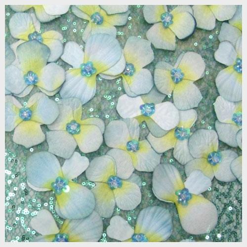 Blue Green Floral Organza