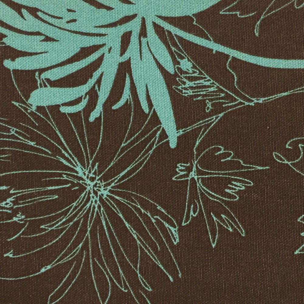 Brown Aqua Floral Cotton