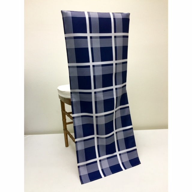 Navy Plaid Chair Back