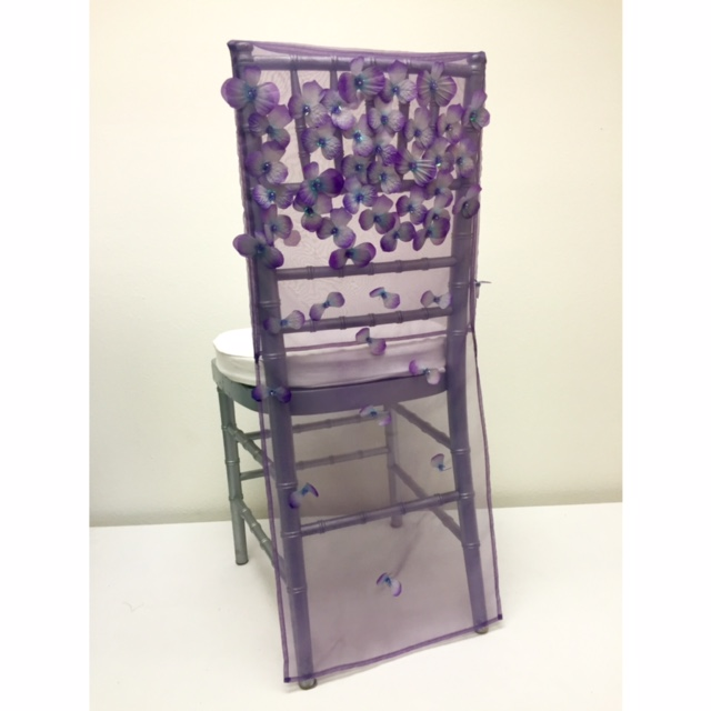 Amethyst Floral Organza Chair Back