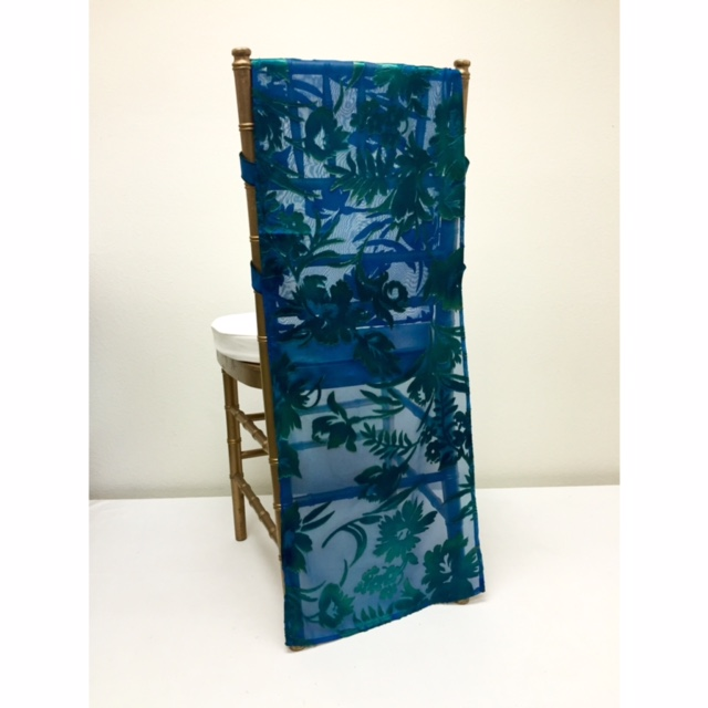 Blue Green Embossed Chiffon Chair Runner