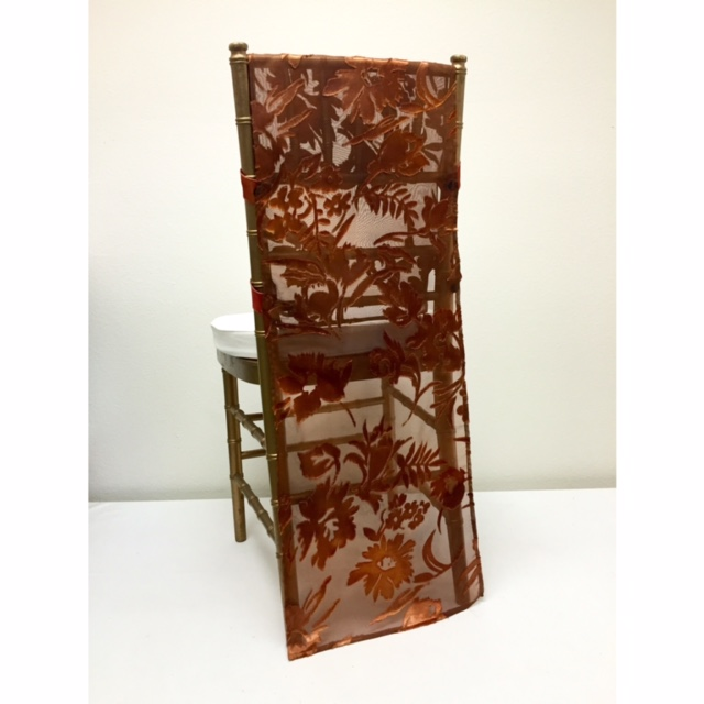 Copper Embossed Chiffon Chair Runner