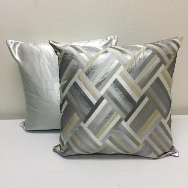 Silver Metallic Nu Silk & Silver Deco Chevron