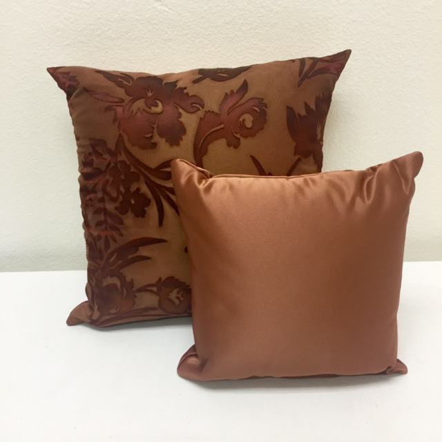 Copper Embossed Chiffon & Cognac Matte Satin