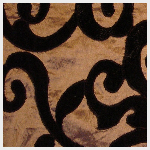 Umber Taffeta with Chocolate Velvet Applique