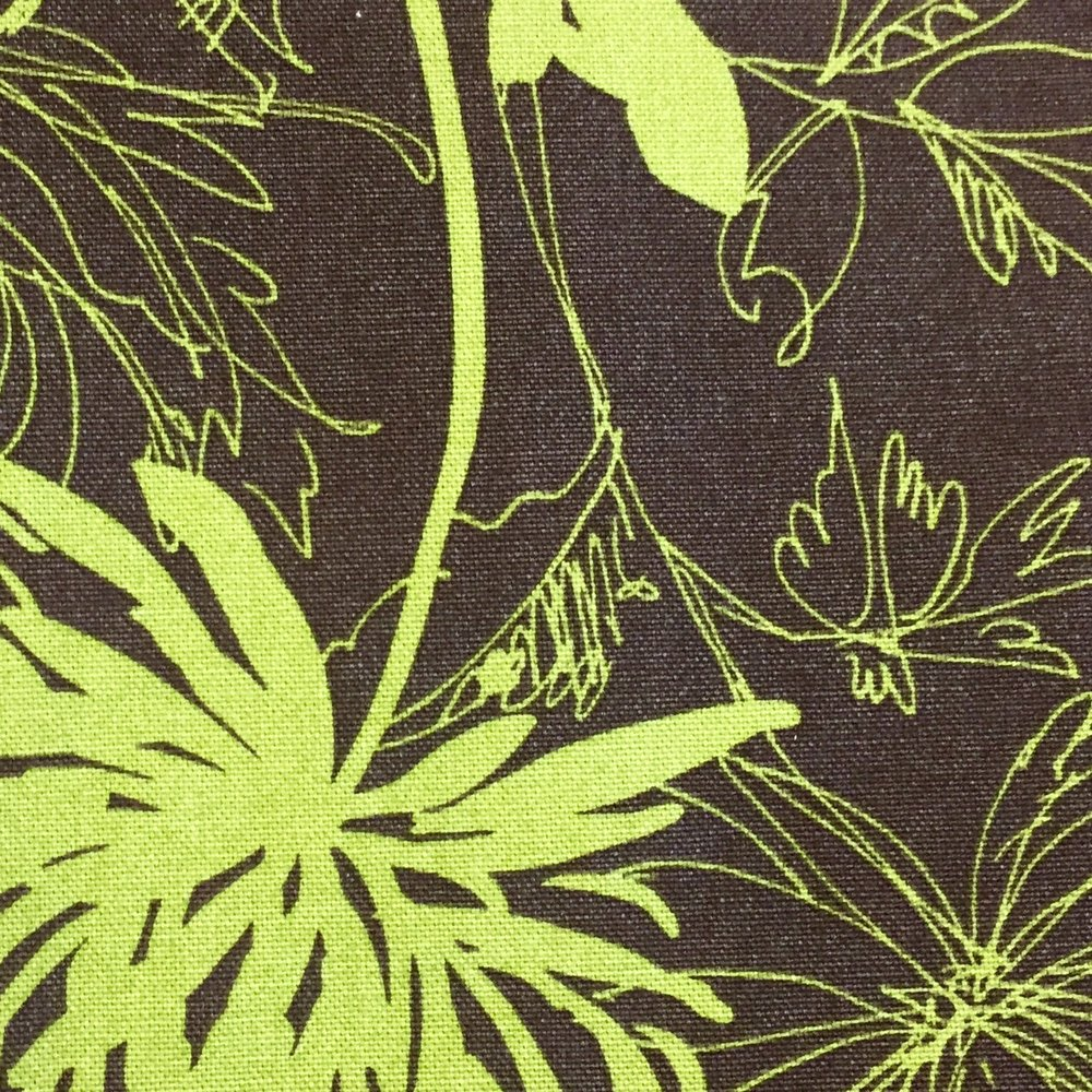 Brown Chartreuse Floral Cotton