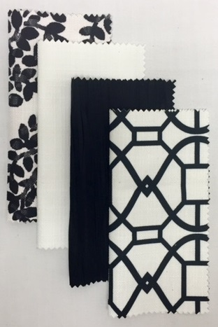 Black Topiary | White Textured Linen | Black Bark | Black Metropolis