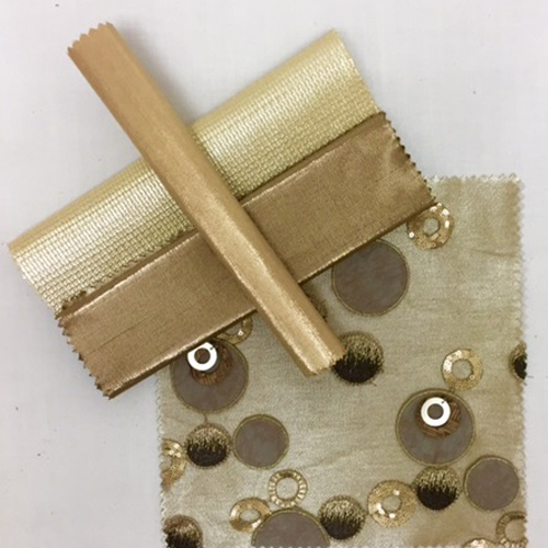 Buff Metallic Nu Silk | Gilt Gemstone | Bronze Metallic Nu Silk |Bronze Circle Confetti | Champagne Metallic Nu Silk