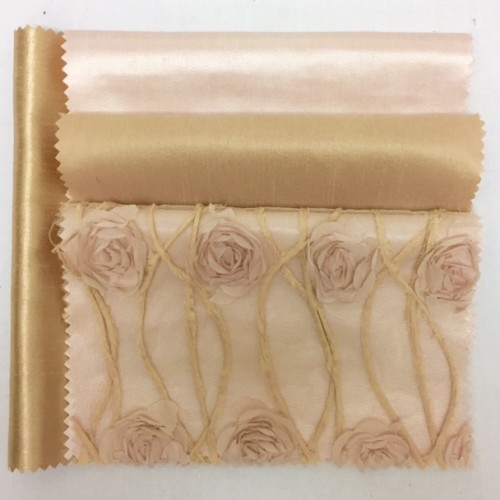 Blush French Tulle | Blush Sateena | Au Lait Nu Silk | Buff Metallic Nu Silk