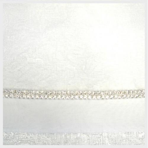 White Organza with Double Rhinestone Trim