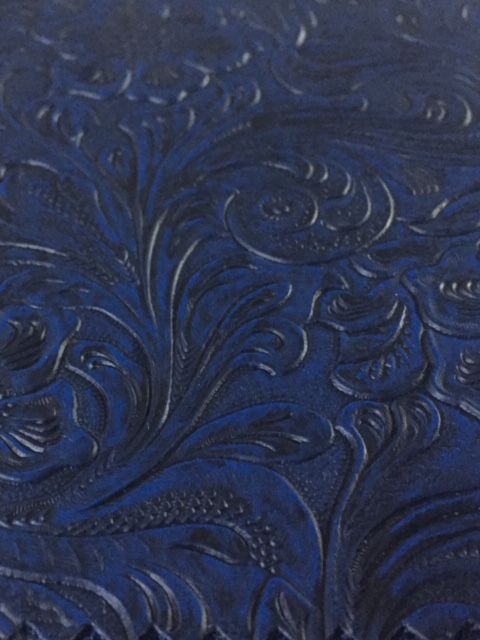 Blue Tooled Leatherette