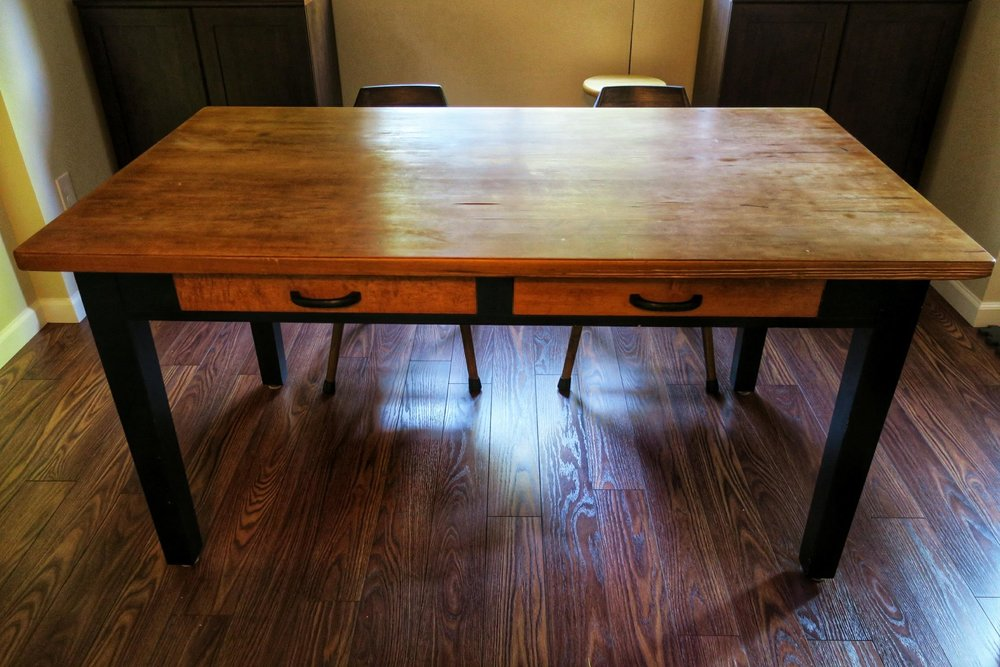 Our beloved dining room table (that we got from OSU's surplus store for ~$15)… it was a former library table (or maybe a lab table)