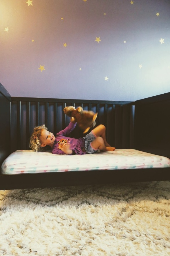 took off the bars and made the switch to a toddler bed!