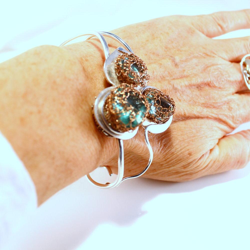 Zilveren armband met obsidiaan en koper