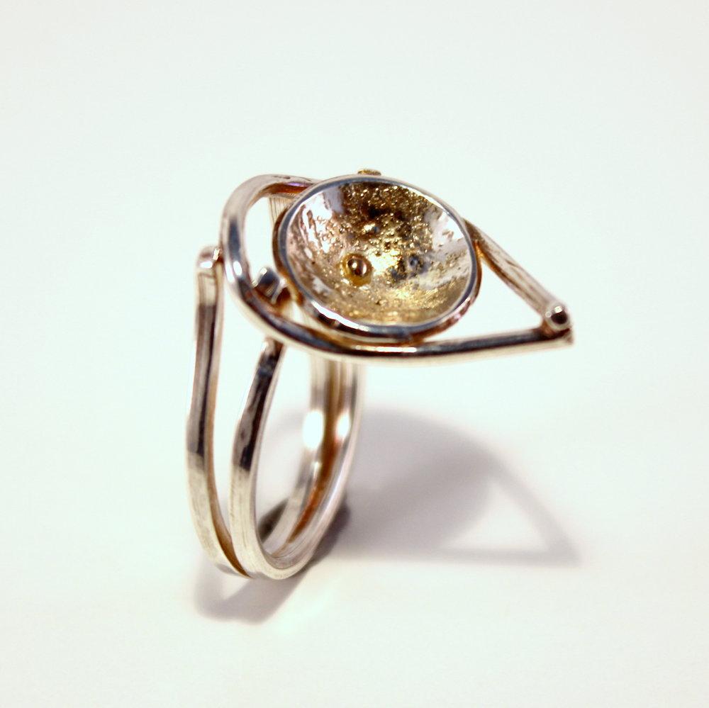 zilveren ring met details van goud
