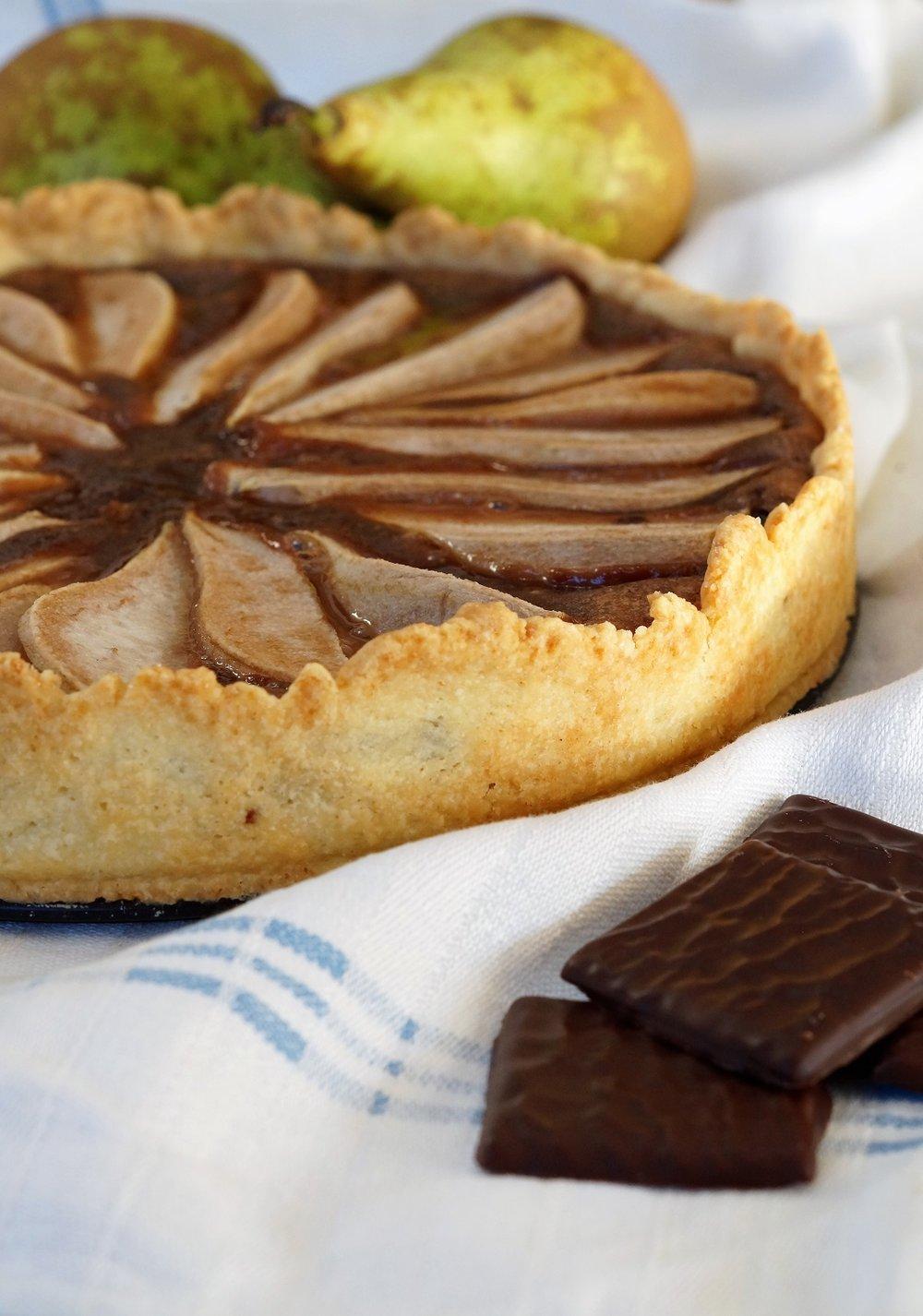Sjokoladepai med pære og after eight