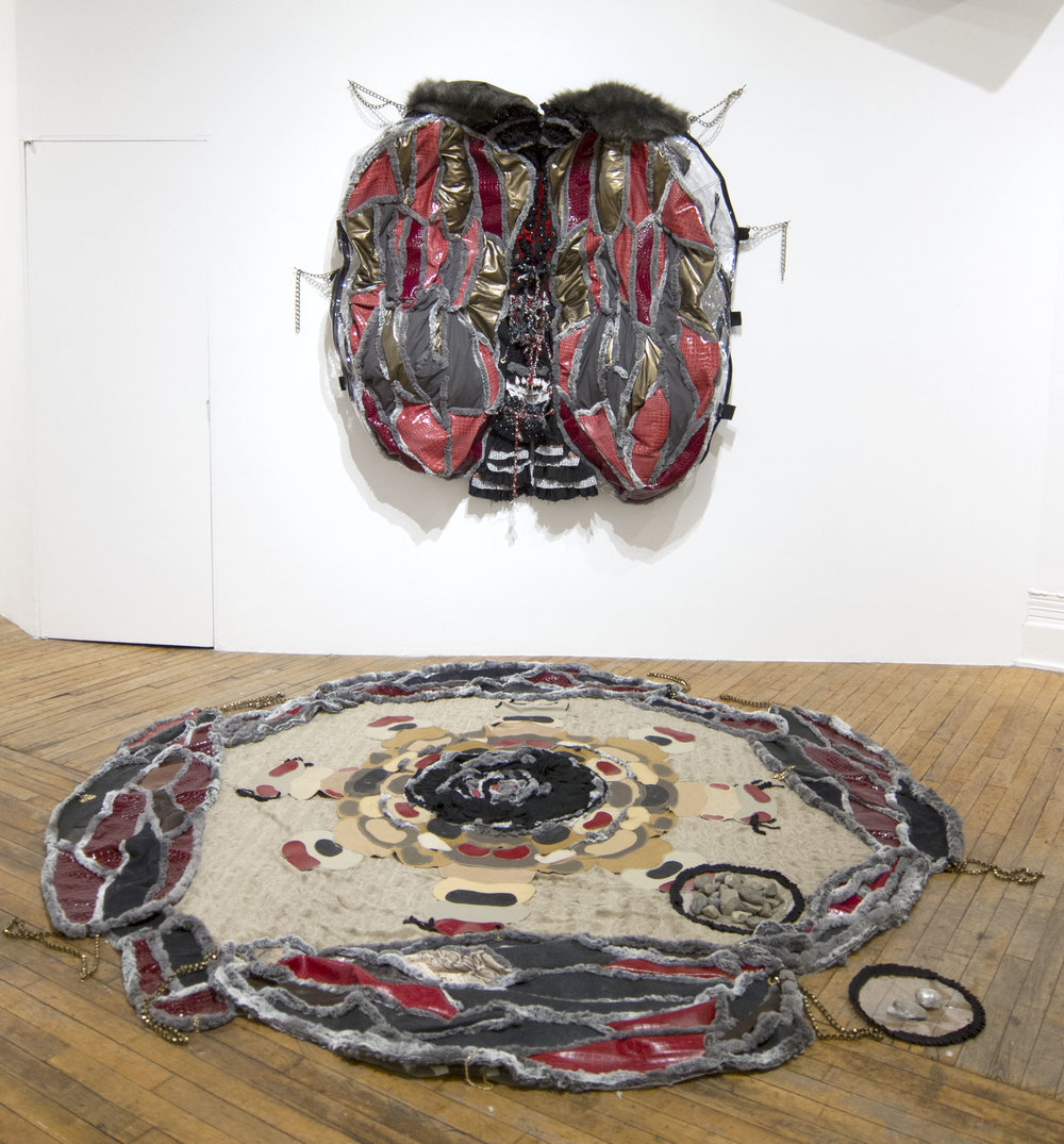 "Shed-wings Storage , Mixed media installation, Dimensions variable (70""x54""x7""/Floor piece: 110"" diameter), 2018  A part of the installation ""PIPORNOT's Superorganism."""