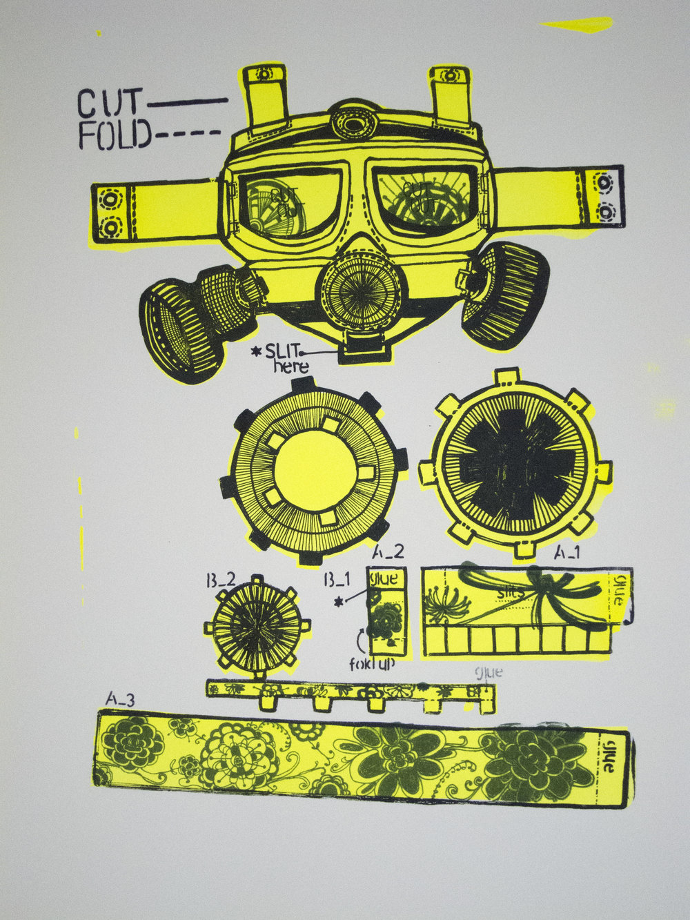 "Gaskmask for Husband , Silkscreen on paper, 30'""x22.5"", 2014"
