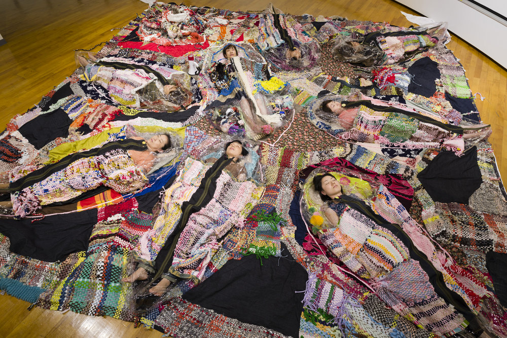 Runningaway Furoshiki , Mixed media installation/Performance, Dimensions variable (floor piece: approx. 15 feetx15 feet), 2013  Photographed by Hideto Nagatsuka