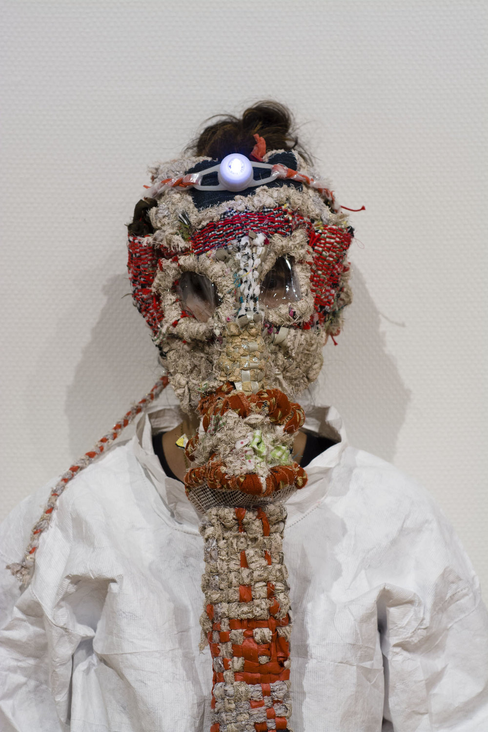 One of the masks created for the installation/performance  Runningaway Furoshiki , Mixed media, 2013  Photographed by Hideto Nagatsuka
