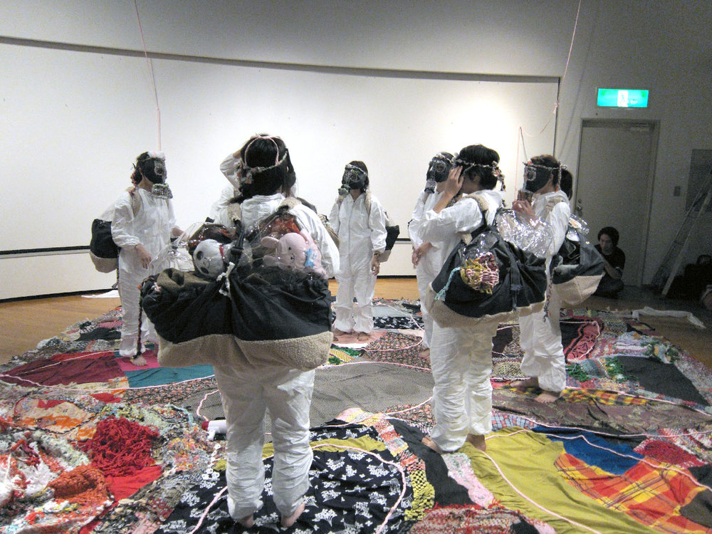 Runningaway Furoshiki , Mixed media performance, 2013   Click here to play the video  (Camera&Editing by Mariko Ogawa)