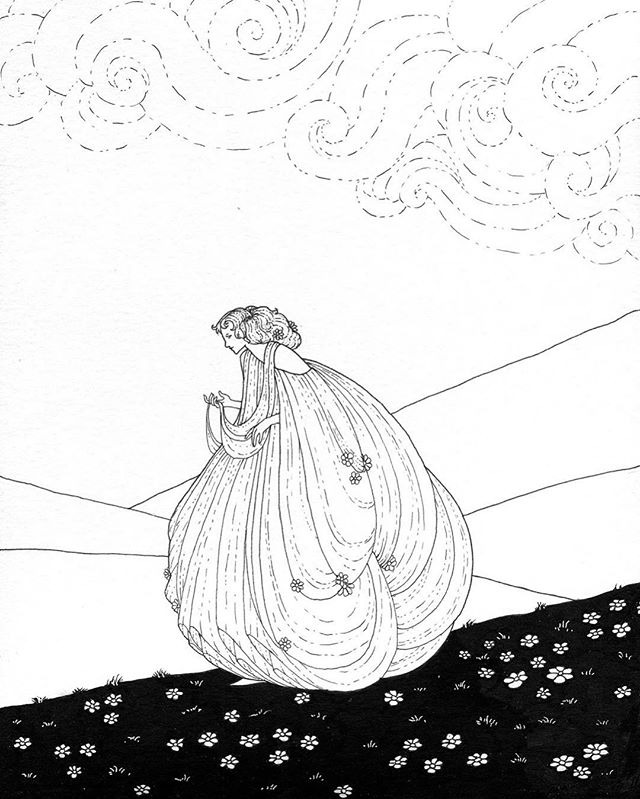 8x10 ink on paper lady on the go. En route to a #coloringladies contributor! . . #drawing #illustration #ink #crowdfunding #indiegogo #vintageillustration #originaldrawing #doodle #bigdress