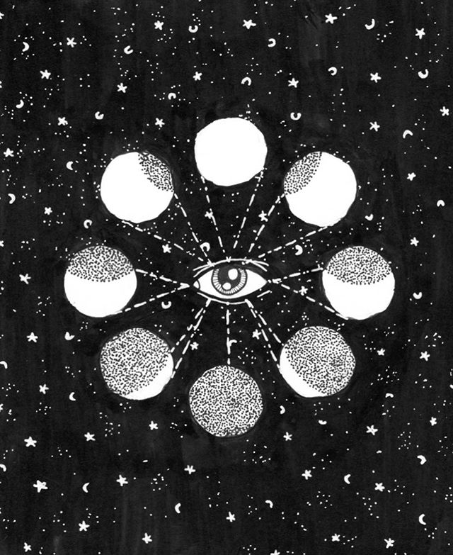 Moon cycle illustration #moon #mooncycle #moonphases #drawing #illustration #ink #blackwork #lineart #eye