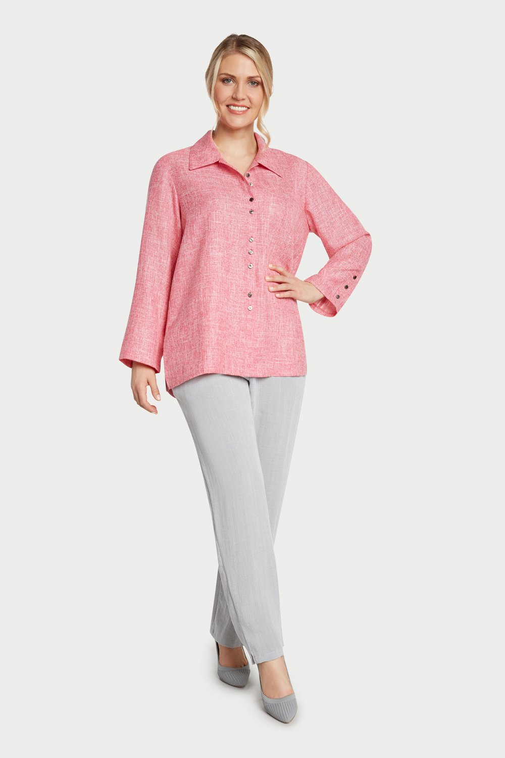 AA7059 - Fun Button Shirt Pink/White Heathered - JC07