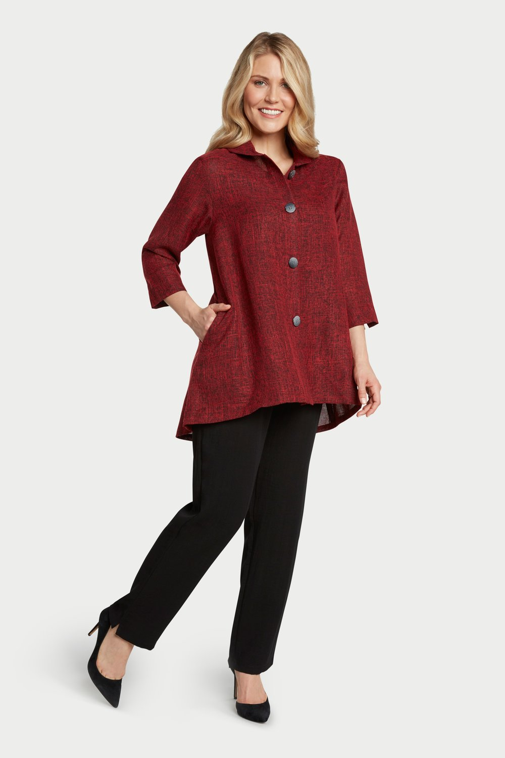 AA7073 - Novelty Button Jacket Red/Black Heathered - JC32