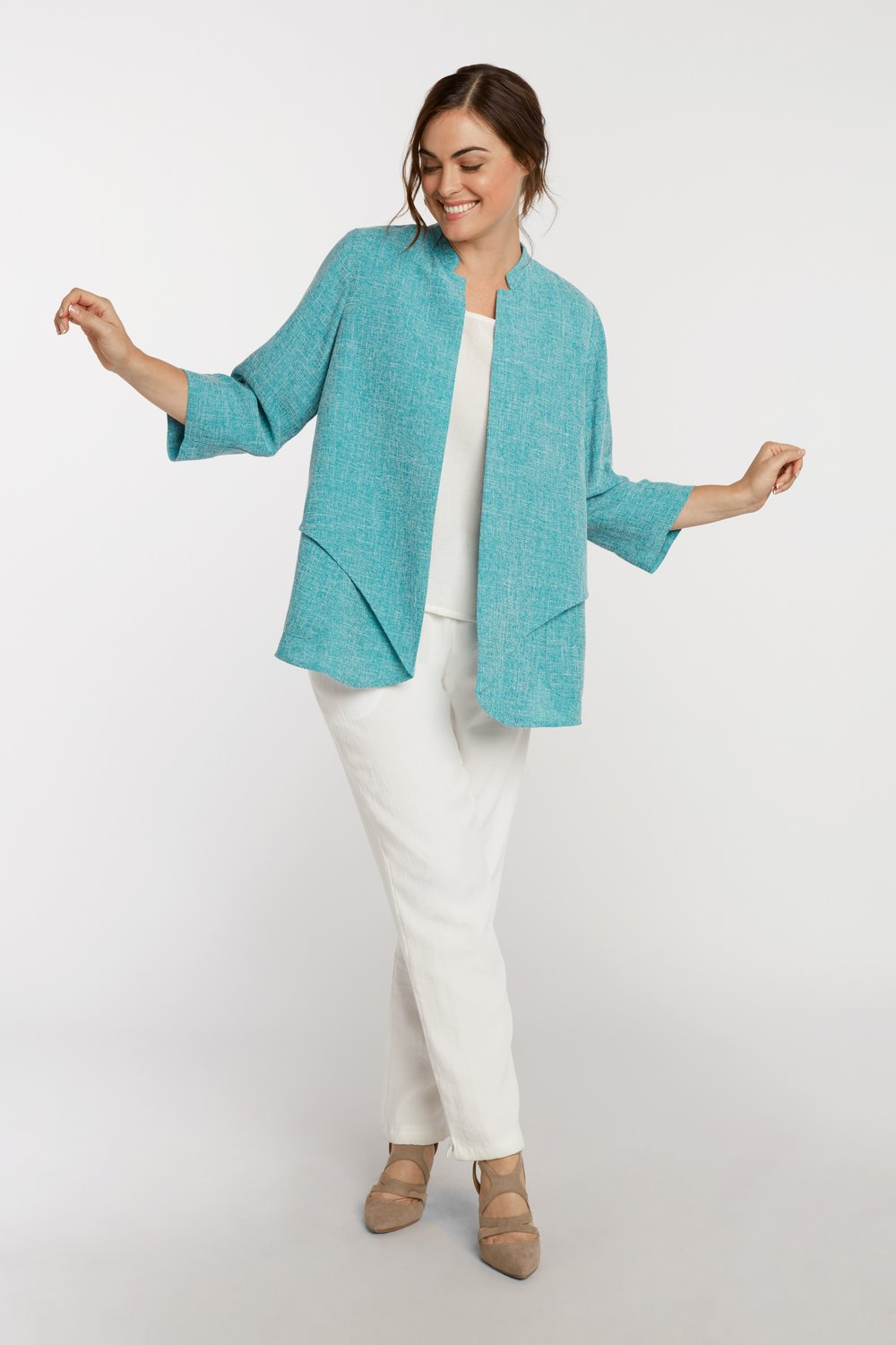 AA7137 - Waterfall Jacket Turquoise/White Heathered - JC15